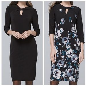 New WHBM Reversible Floral Solid Knit Dress XSP